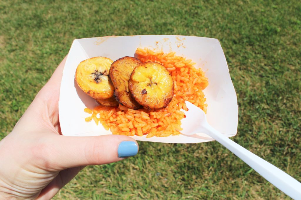 Plantains and rice from Vee Vee African Restaurant.