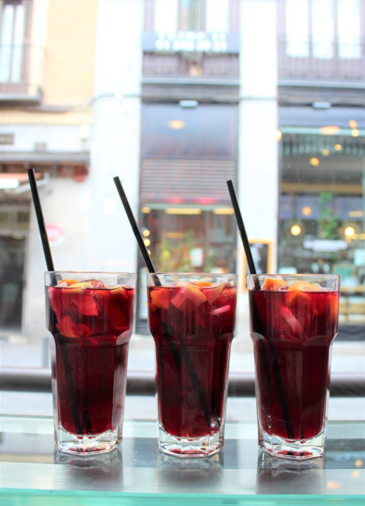 Ropa viejo (red wine) sangria from Mercado de San Miguel in Madrid